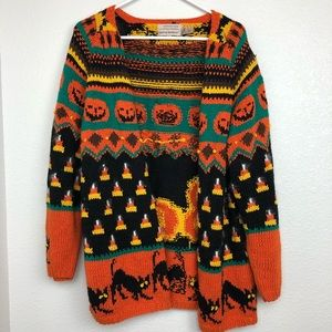 Vintage knitted by hand Halloween cardigan
